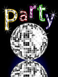 Party poster. Illustration of a silver mirror ball and colorful party letters on a dark background Stock Photos