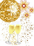 Party poster. Illustration of two glasses with sparkling wine in front of a golden disco sphere and fireworks Stock Images
