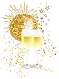 Party poster. Illustration of two glasses with sparkling wine in front of a golden disco sphere and fireworks Royalty Free Stock Image