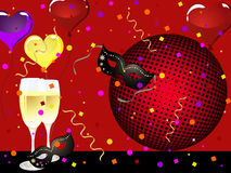 Party poster. Illustration of two glasses with sparkling wine on a colorful party background Stock Photo