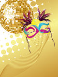 Party poster. Illustration of an elegant mask and a golden mirror ball on an abstract golden background Stock Image
