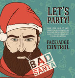 Party poster with bad santa Royalty Free Stock Photo