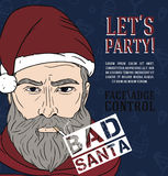 Party poster with bad santa Royalty Free Stock Photos