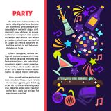 Party poster for birthday celebration or disco club Stock Image