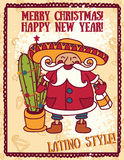 Party poster for christmas with cute Santa in mexican style Stock Image