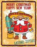 Party poster for christmas with cute Santa in mexican style Royalty Free Stock Images