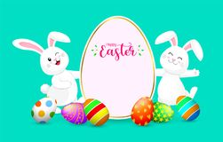 Party poster for Easter Egg Hunt with cute  bunny. Cartoon holiday invitation with smiling rabbit and copy space. Design for flyers and banners print design Royalty Free Stock Photos