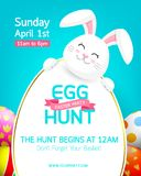 Party poster for Easter Egg Hunt with cute  bunny. Cartoon holiday invitation with smiling rabbit head, ears and copy space. Design for flyers and banners print Royalty Free Stock Photography