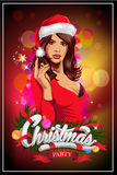 Party poster with woman wearing santa claus clothes. Vector vector illustration