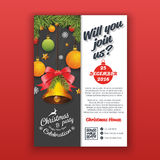 Party poster template with realistic balls and bell for Christmas. And happy new year 2017. Vertical Christmas party invitation template for print. A4 Layout royalty free illustration