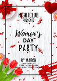 Party poster for Women`s Day Stock Photos