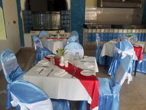 Party preparation. The picture shows a room prepared for a party Stock Photo