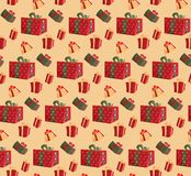 Party presents colorful seamless pattern on beige background. Pattern gift box for fabric print,wrapping package gift box paper. stock image