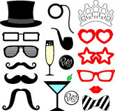 Party props. Mustaches, lips, eyeglasses silhouettes and design elements for party props isolated on white background Royalty Free Stock Photography