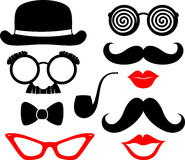 Party props. Set of mustaches, lips and eyeglasses silhouettes and design elements for party props isolated on white background Stock Images