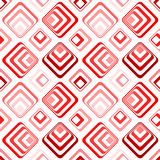 Party psychedelic red squares seamless pattern. Geometric diamond squares grid with psychedelic effect. Concentric shapes, chess layout Stock Photos