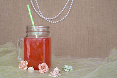 Party punch in a mason jar with candy Stock Photography