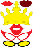 Party queen accessories set - glasses, crown, lips. Party queen accessories woman set - glasses, crown, lips - for design, photo booth, scrapbook in vector Royalty Free Stock Photo