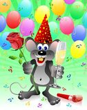 Party rat with red rose and ch Stock Images
