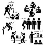 Party Recreational Games Cliparts. A set of human pictogram representing recreational games played at party Royalty Free Stock Image