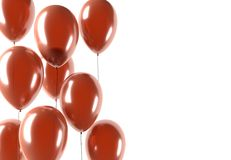 Party red balloons. Celebration or anniversary event, isolated, 3D illustration Stock Photography