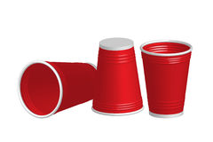 Party red plastic cup  on white background Royalty Free Stock Photo