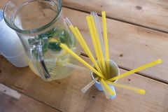 Party refreshment with lemonade in a jar. And straws Royalty Free Stock Images