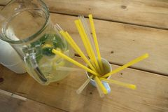 Party refreshment with lemonade in a jar. And straws Stock Image