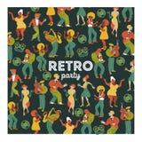 party retro Διανυσματική αφίσα Αναδρομική απεικόνιση ύφους Μουσική και χορός στο αναδρομικό ύφος Μουσικοί και χορευτές της Jazz διανυσματική απεικόνιση
