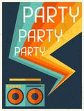 Party retro poster in flat design style Stock Photography