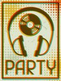 Party retro poster in flat design style Stock Images
