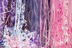 Party ribbons. A bright bunch of party ribbons on display Stock Image