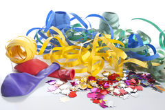 Party ribbons and balloons Stock Image