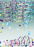 Party ribbons and confetti Royalty Free Stock Photos