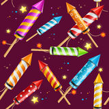 Party Rocket Fireworks Background Pattern. Vector Stock Photo