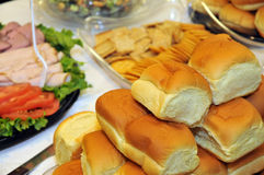 Party rolls and meat platters Royalty Free Stock Images