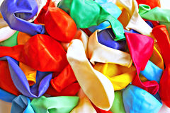 Party's over. Deflated balloons - sombre mood Stock Photos