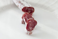 Party salami on a plate Stock Photography