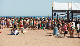 Party on Sant Adria beach in Barcelona. BARCELONA, SPAIN - JUNE 16: Party on Sant Adria beach in June 16, 2013 in Barcelona, Spain. Mediterranean coast in royalty free stock photography