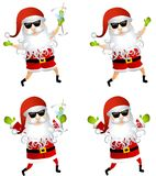 Party Santa Claus Martini. An illustration featuring your choice of Santa Claus cartoon characters, with and without shorts, martini and wearing sunglasses stock illustration