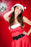 Party santa girl and shiny disco ball Royalty Free Stock Photo