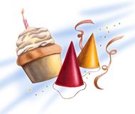 Party scene. Card. Hand drawn illustration Royalty Free Stock Photos