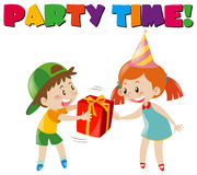 Party scene with boy giving gift to girl Royalty Free Stock Images