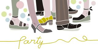 Party scene. With legs and shoes of people Royalty Free Stock Photos