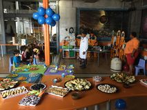 Party science demonstration children teacher birthday Stock Photo
