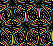 Party seamless pattern. Abstract seamless pattern for design of party. Multi-colored radial explosions on a black background vector illustration