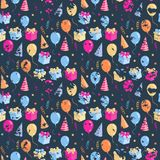 Party seamless pattern with ballons,gift box,hat. On a dark background grange.Carnival background Stock Images