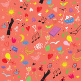 Party seamless pattern with wine, music symbols an Royalty Free Stock Photography