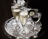 Party Serving Tray with sparkling champagne Stock Photo