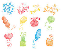 Party set. Set of vector icons - balloons, gifts, holiday vector illustration